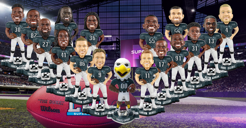 af21bf0bf Eagles Super Bowl LII Bobblehead Roster Largest in Super Bowl ...